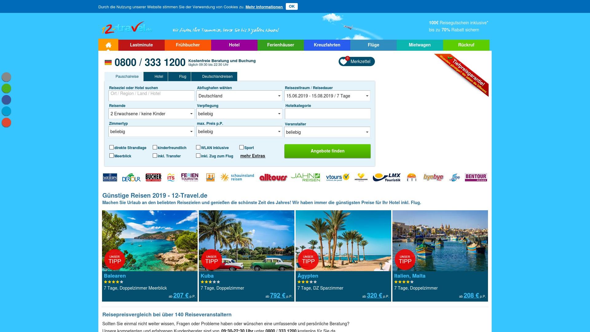 Geld zurück bei 12-travel: Jetzt im Mai 2021 Cashback für 12-travel sichern