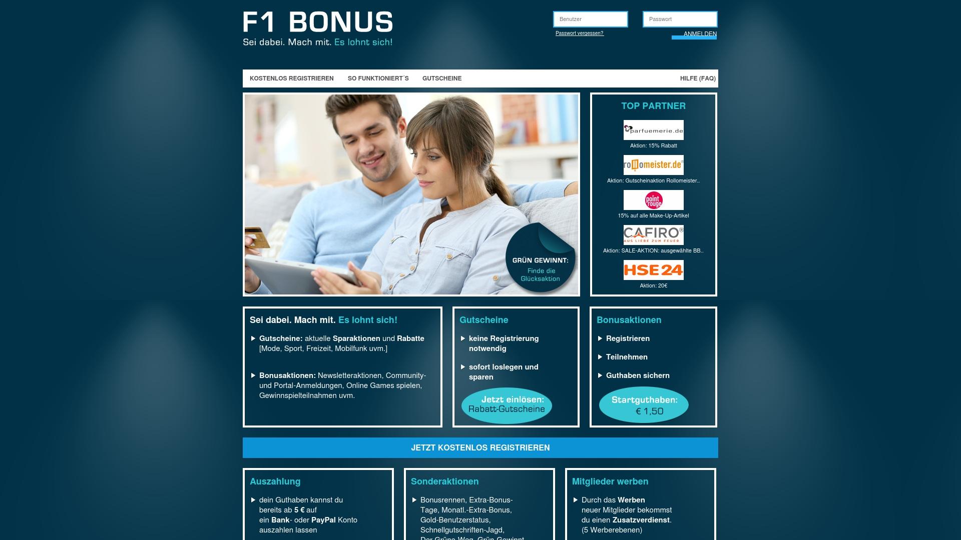 Geld zurück bei F1bonus: Jetzt im April 2021 Cashback für F1bonus sichern
