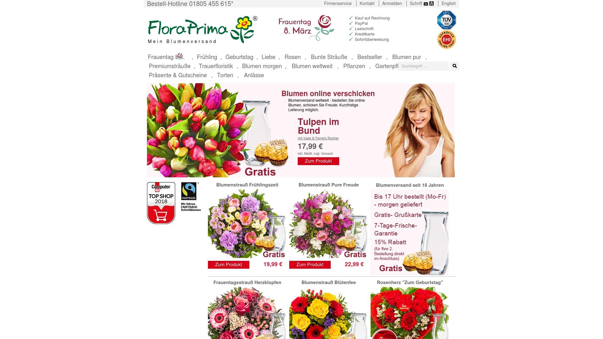 Geld zurück bei Floraprima: Jetzt im Oktober 2021 Cashback für Floraprima sichern