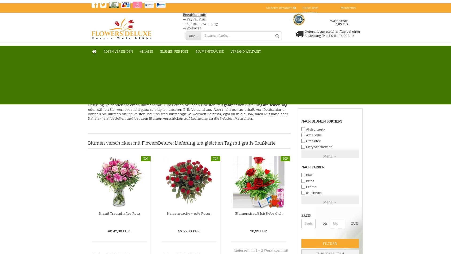 Geld zurück bei Flowers-deluxe: Jetzt im April 2021 Cashback für Flowers-deluxe sichern