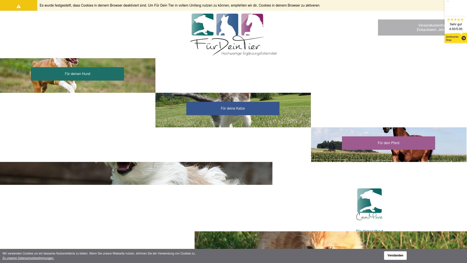 Geld zurück bei Fuerdeintier: Jetzt im April 2021 Cashback für Fuerdeintier sichern