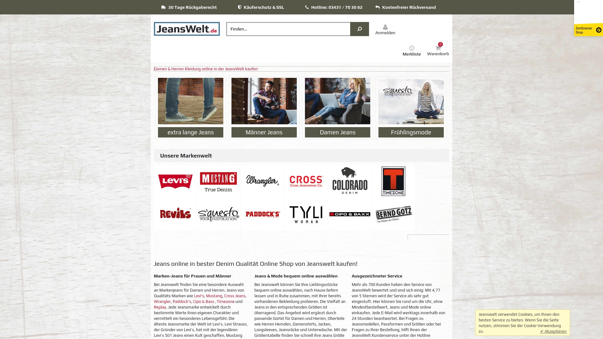 Geld zurück bei Jeanswelt: Jetzt im Oktober 2021 Cashback für Jeanswelt sichern