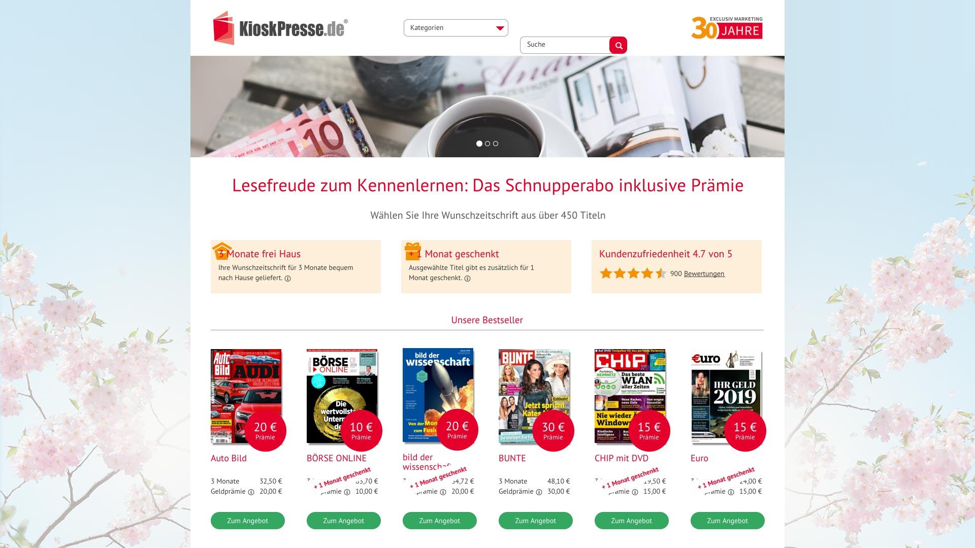 Geld zurück bei Kioskpresse: Jetzt im Oktober 2021 Cashback für Kioskpresse sichern