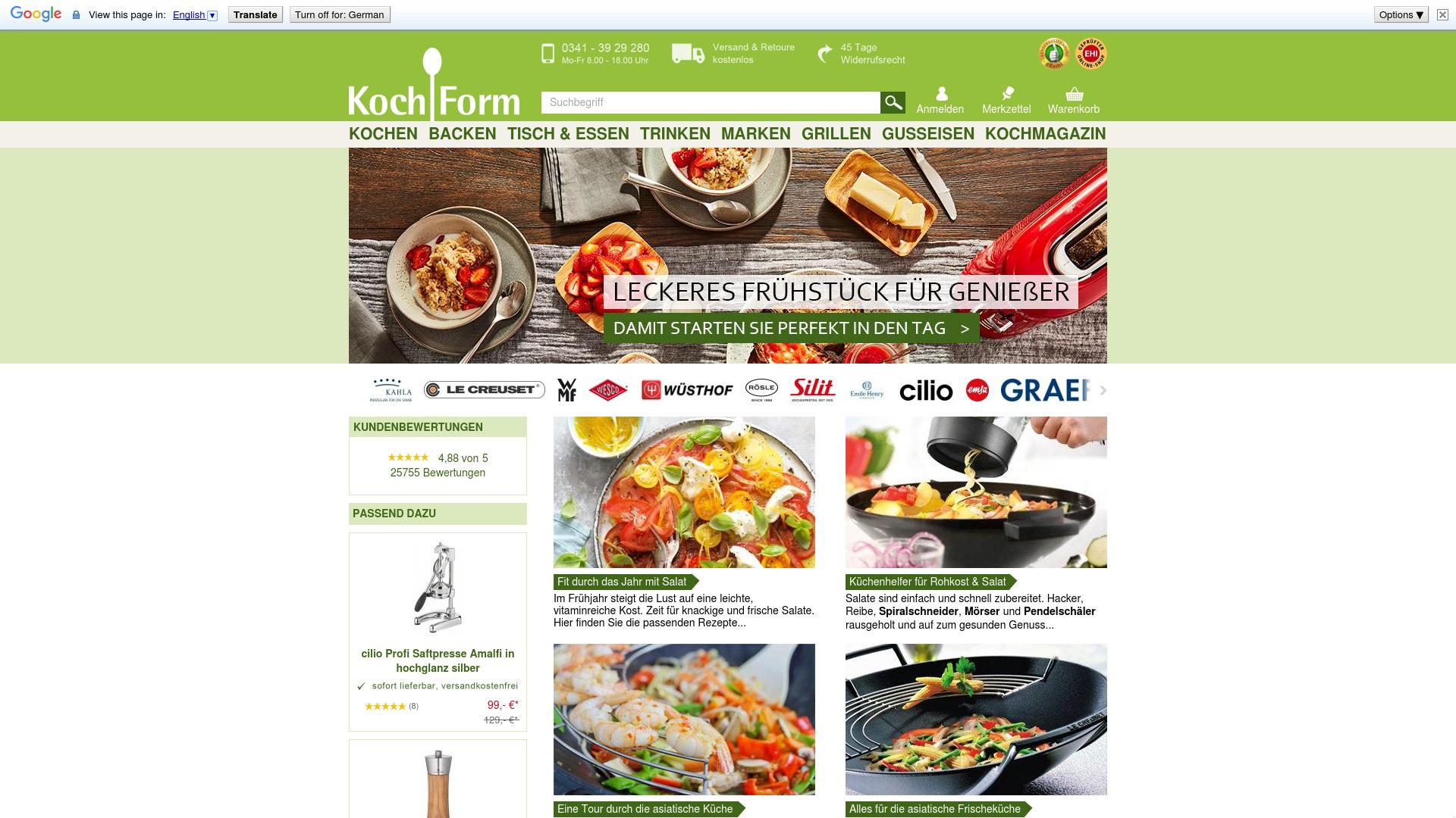 Geld zurück bei Kochform: Jetzt im Oktober 2021 Cashback für Kochform sichern