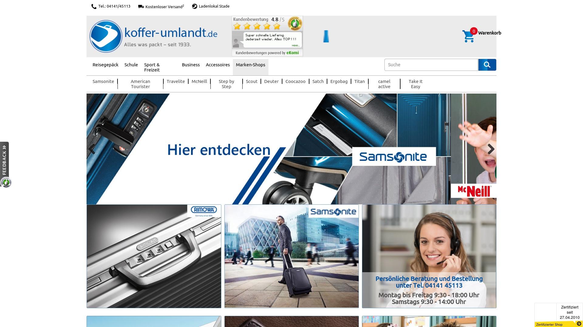 Geld zurück bei Koffer-umlandt: Jetzt im Oktober 2021 Cashback für Koffer-umlandt sichern