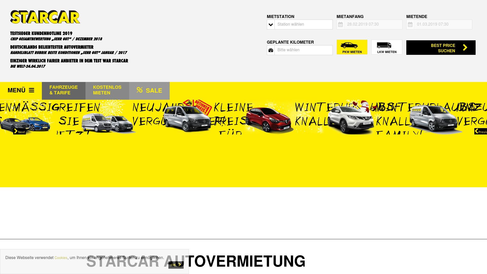 Geld zurück bei Starcar: Jetzt im April 2021 Cashback für Starcar sichern